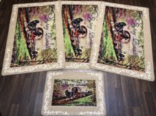ROMANY GYPSY WASHABLES NEW 2019 SETS OF 4 MATS BEIGE/BROWNS NON SLIP GYPSY ROAD